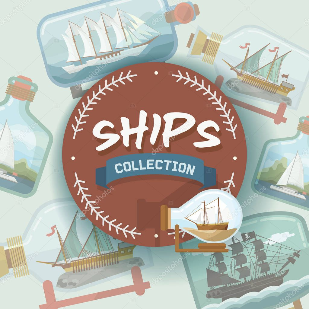 Ship in bottle vector boat in miniature backdrop gifted sail souvenir in glass sailboat with cork wallpaper shipping in flask background ad