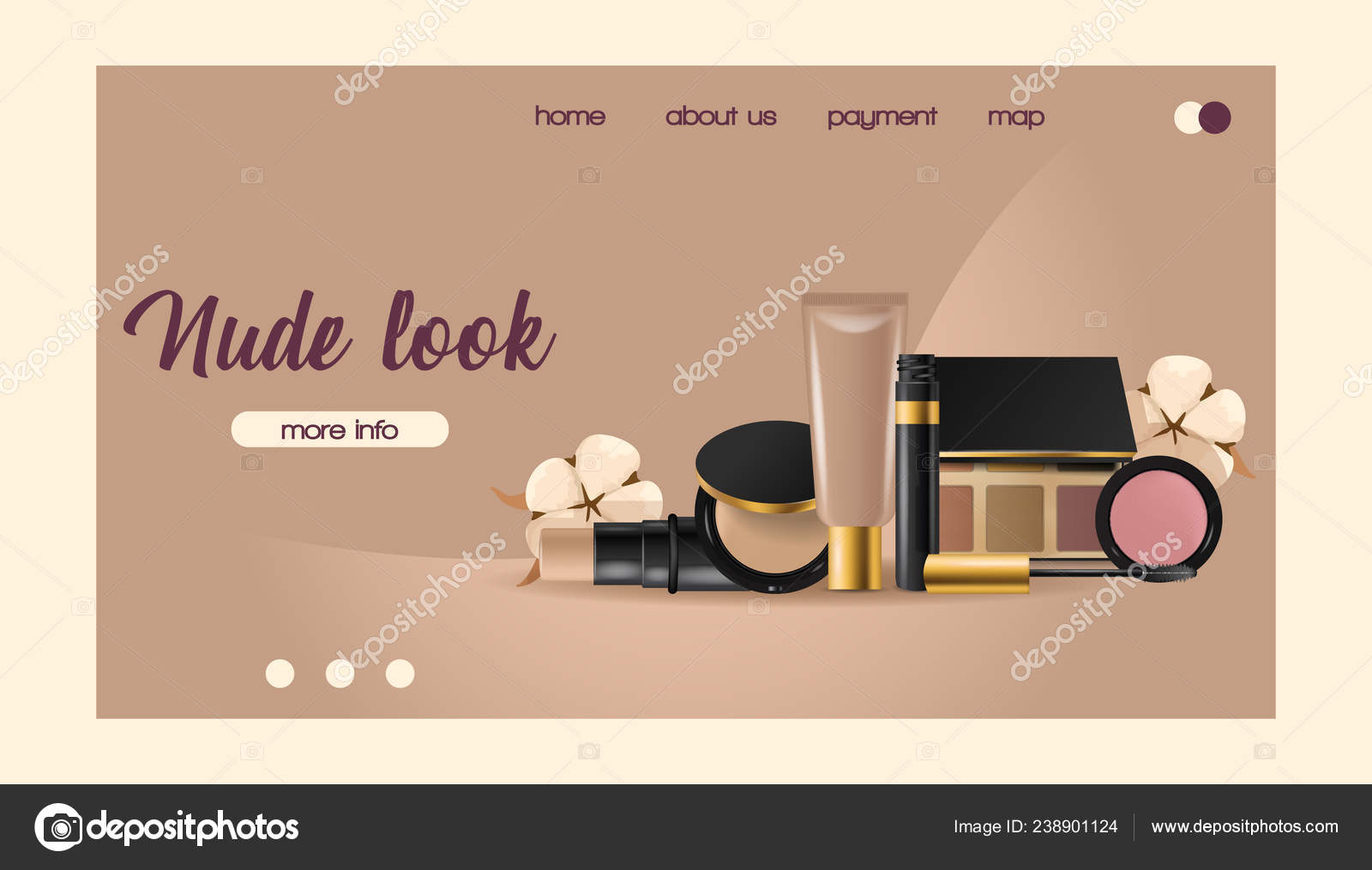 Cosmetic vector landing web page beauty make up cosmetology for beautiful woman with makeup foundation powder illustration web-page cosmetician accessories ...