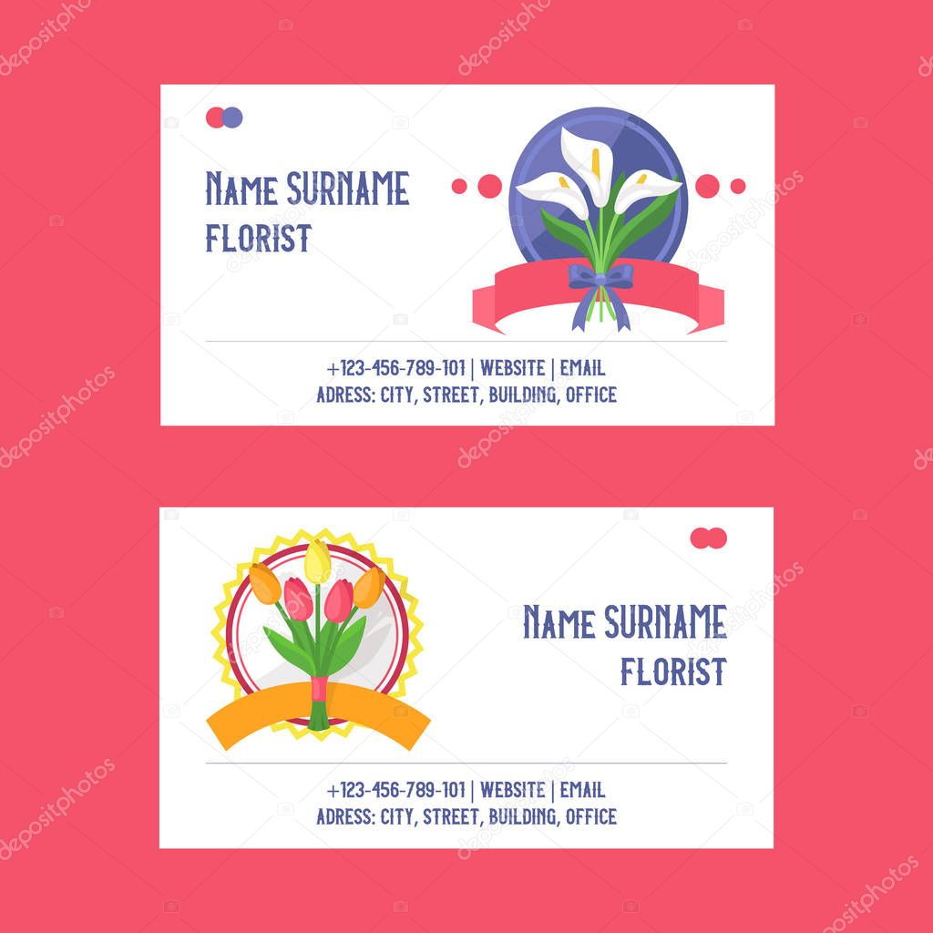 Bouquet vector business card beautiful floral backdrop with blossom flowers illustration flowery tulip on wedding birthday holiday flowering set of business-card background