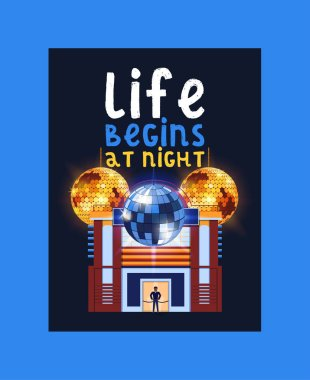 Night city poster, banner vector illustration. Life begins at night. Entertainment and event, disco show. Building of club. Security check with guard. Shining disco ball.