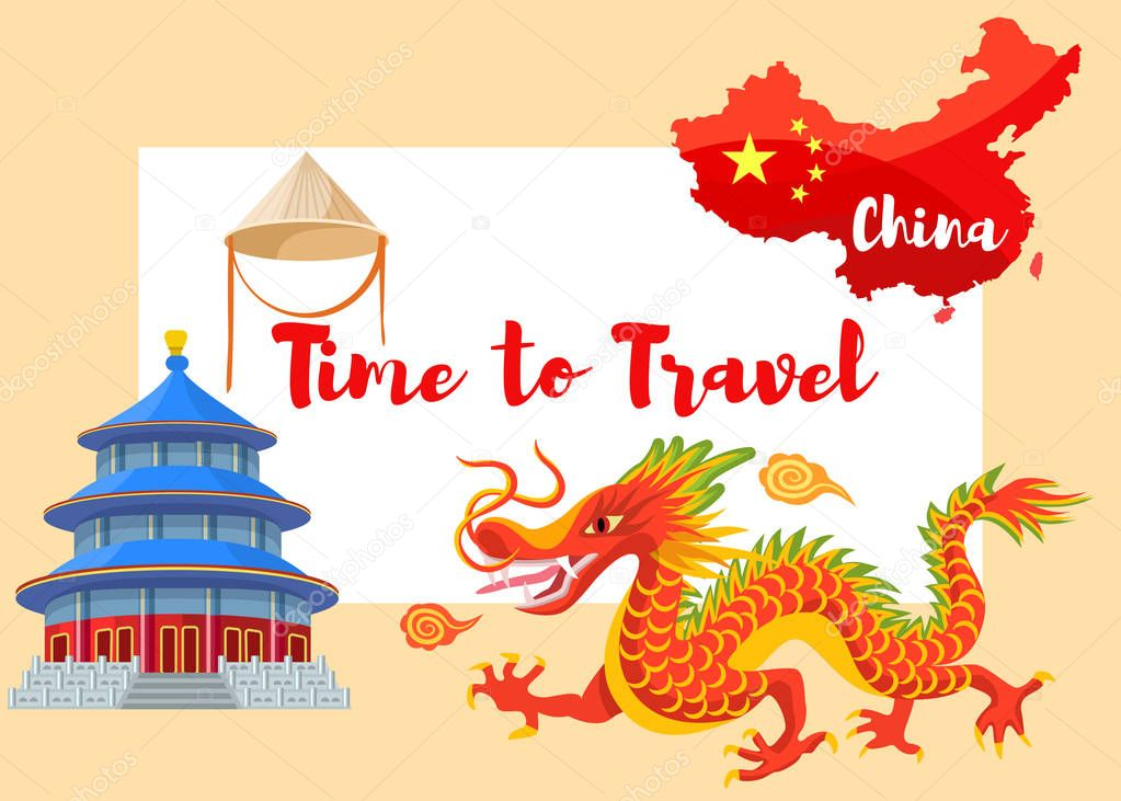 Chinese Culture In Asia Vector Illustration Infographic Set Of Asian Symbols Red Dragon Traditional Pagoda Chinese Cone Hat And Flag On Red Map Of China Contour With Time To Travel Lettering