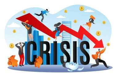 World financial crisis, economic fall vector illustration. Going down graph of finance, business bancrupcy. Concept for finance failure.