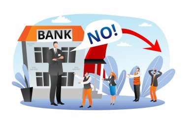 Bank financial crisis, economic fall vector illustration. No finance for loans and credits, business bancrupcy. Concept for finance failure.
