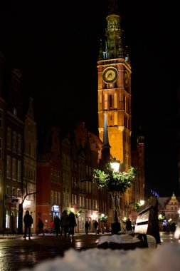 Architecture of the nighty old town in Gdansk