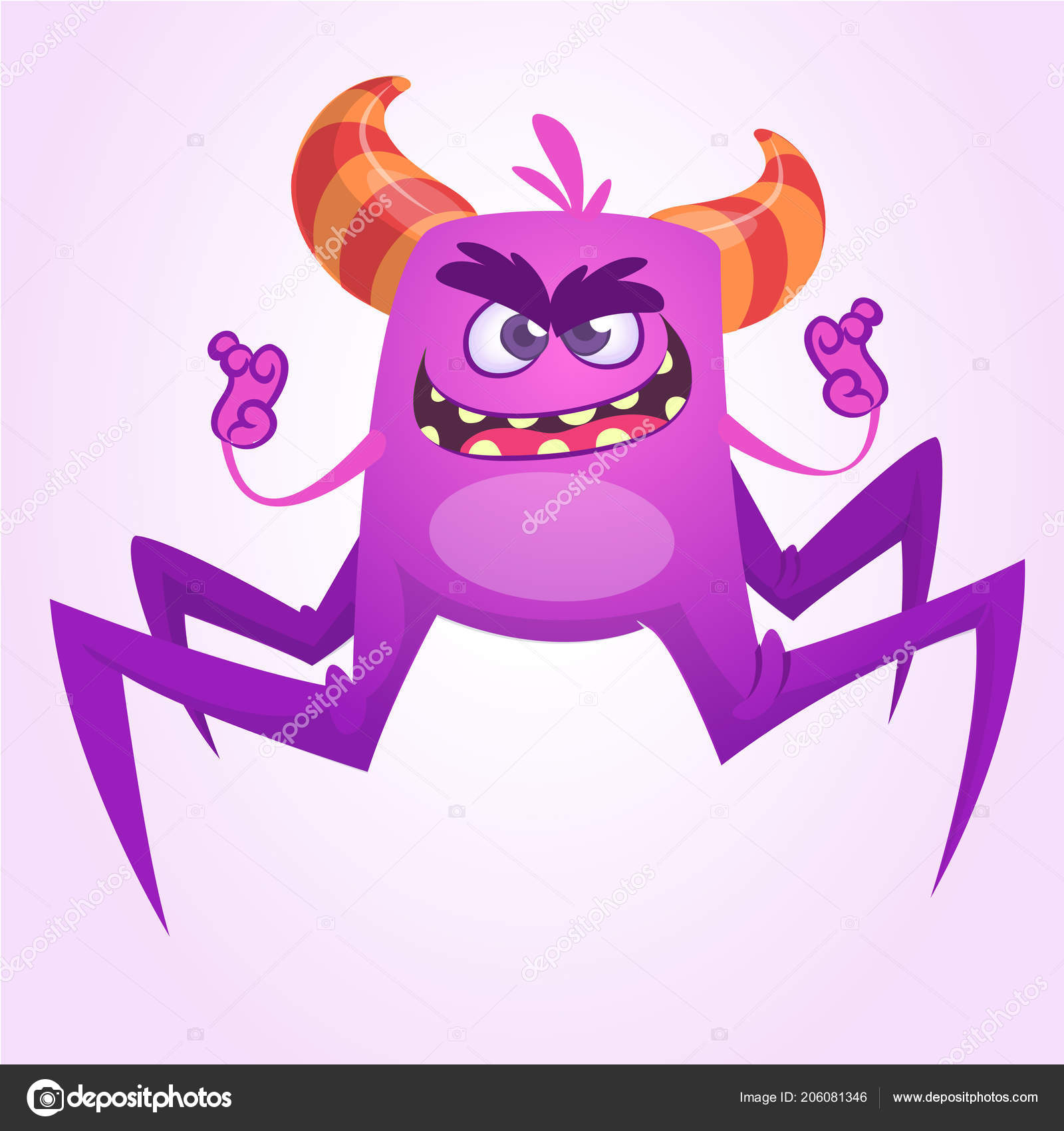 Monstre Dessin Anime Mignon Spider Illustration Vectorielle