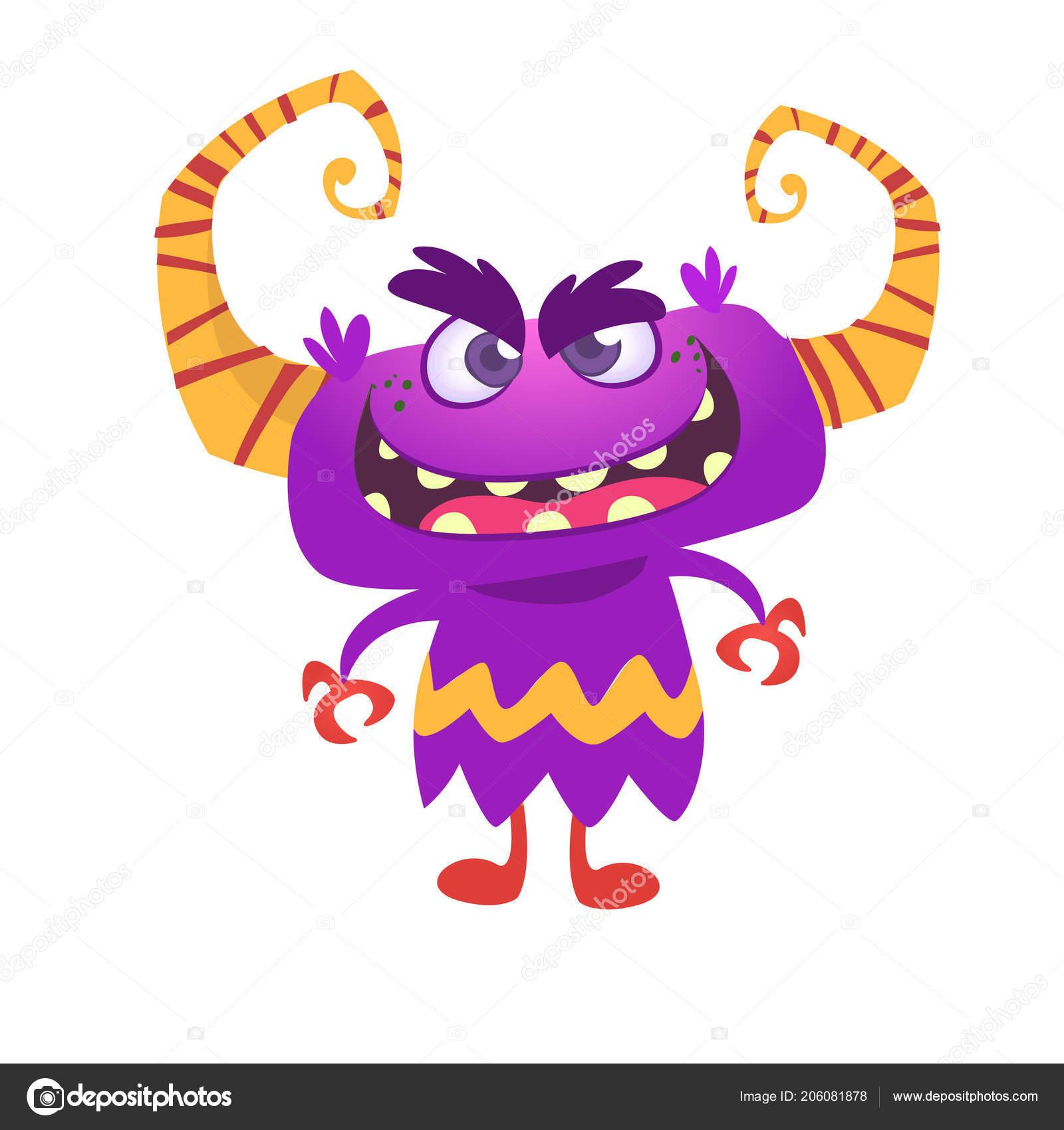 Angry Cartoon Monster Horns Vector Illustration Stock Vector C Drawkman Gmail Com 206081878