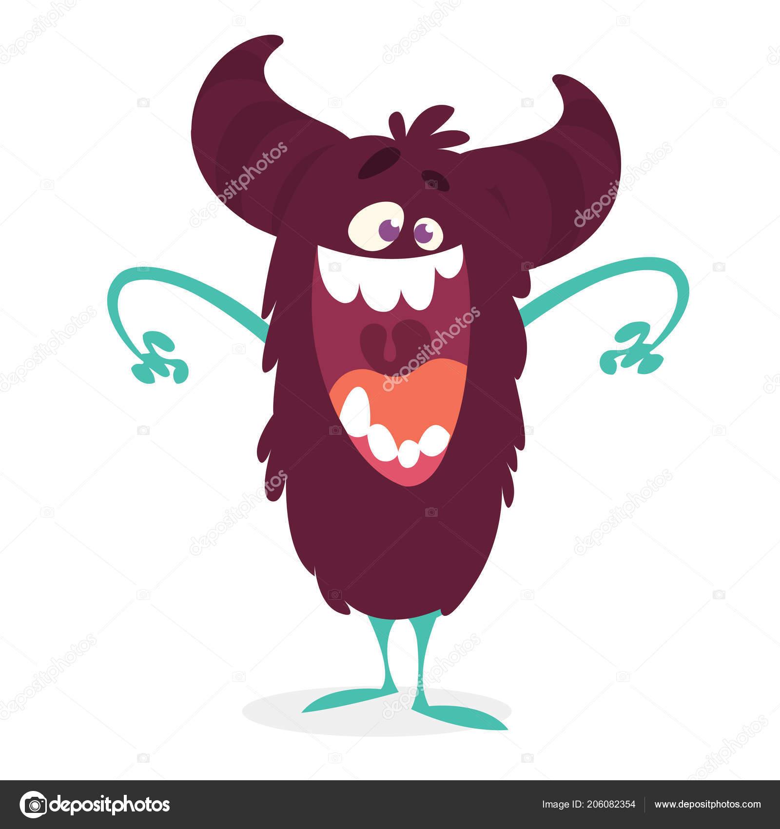 Angry Cartoon Monster Vector Illustration Black Funny Monster
