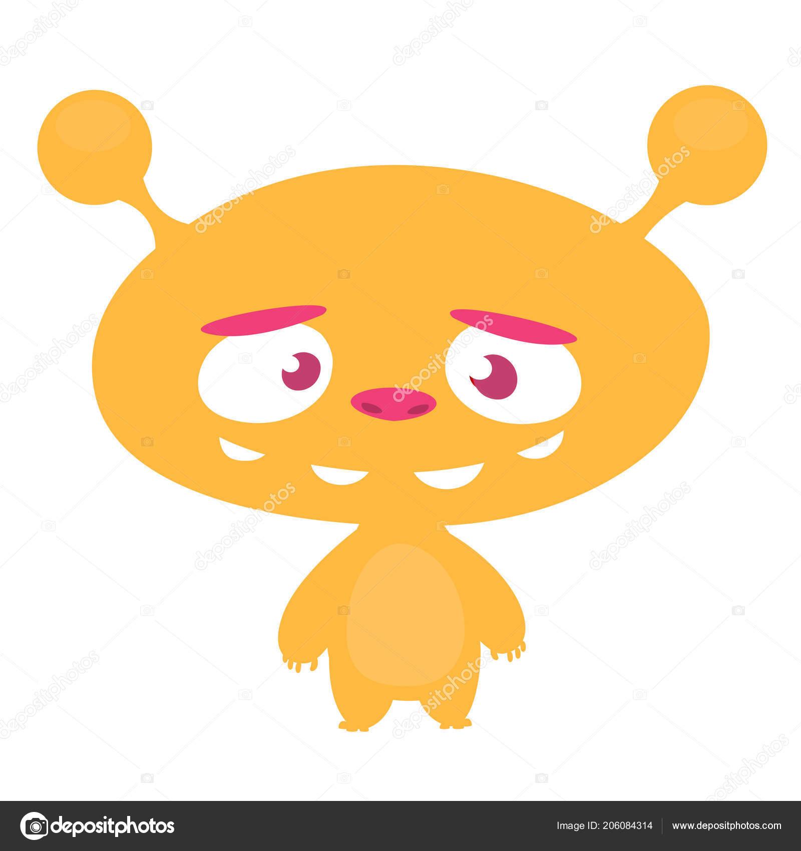 Happy Kreslene Hlavy Vetrelce Vektorove Ilustrace Monster Hlavy