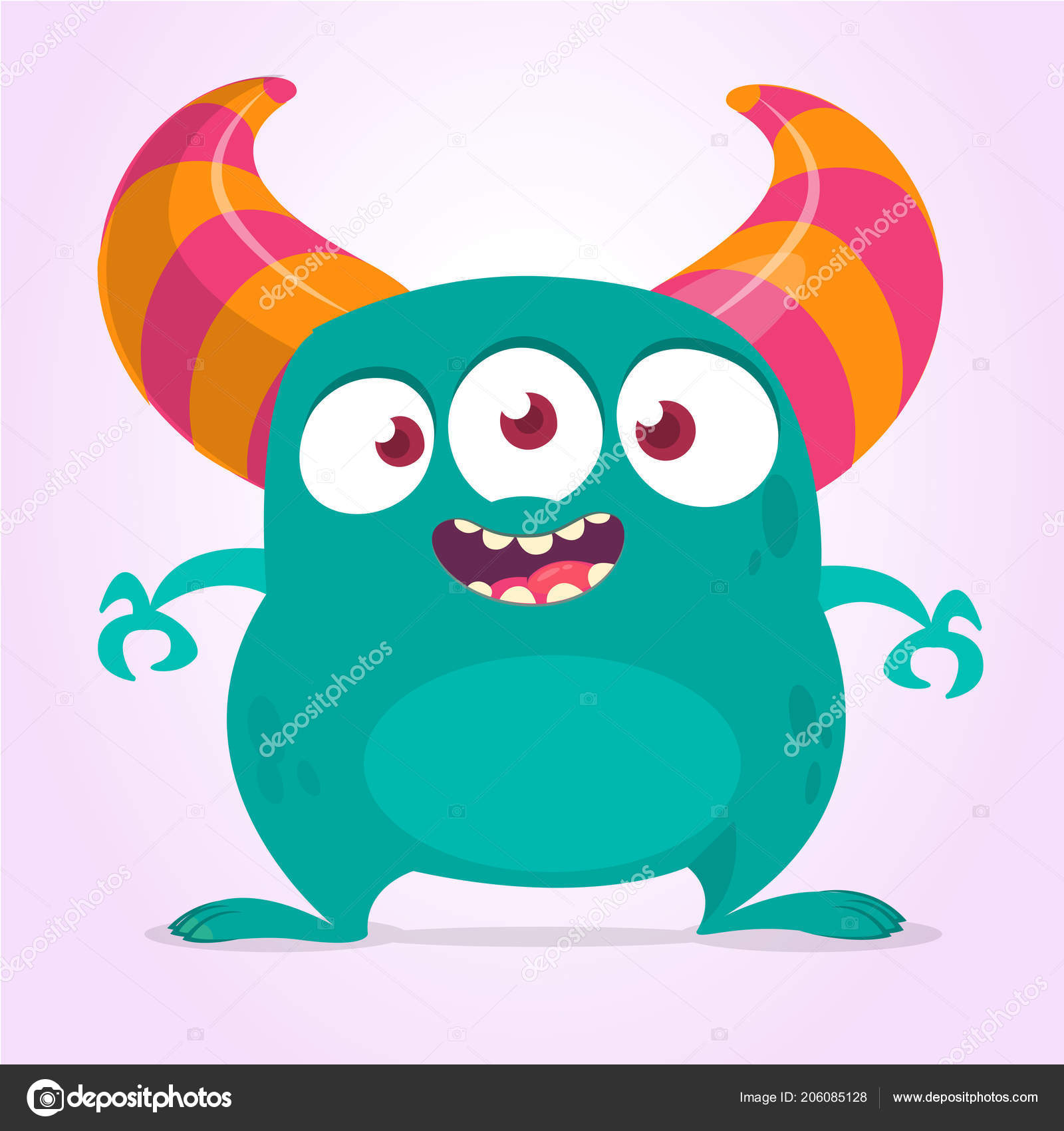 cool cartoon monster three eyes vector blue monster illustration