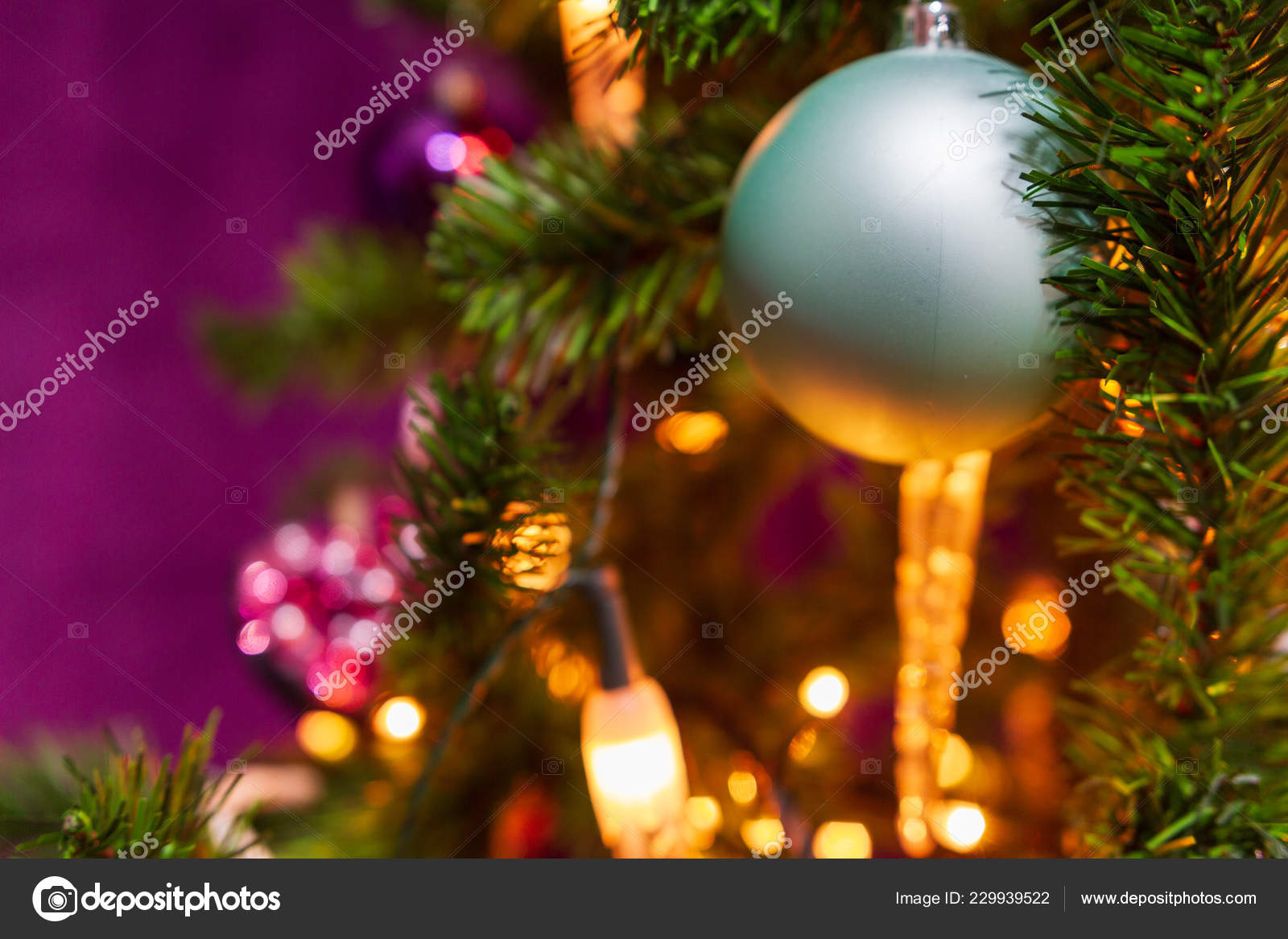Christmas Tree Decorated Purple Theme Prominent Cyan Ball Foreground Other Stock Photo C Palliki 229939522