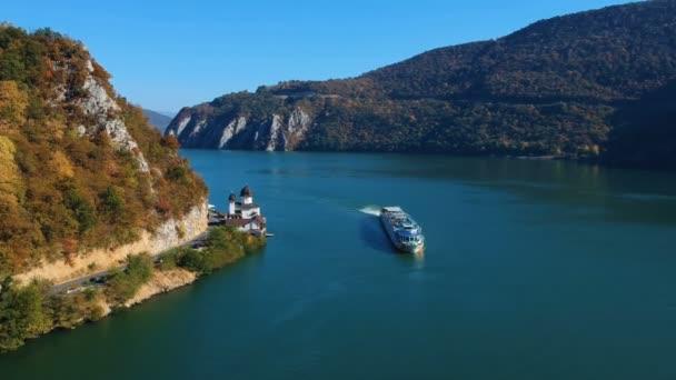 Autumn aerial view of Danube Gorge, Romania