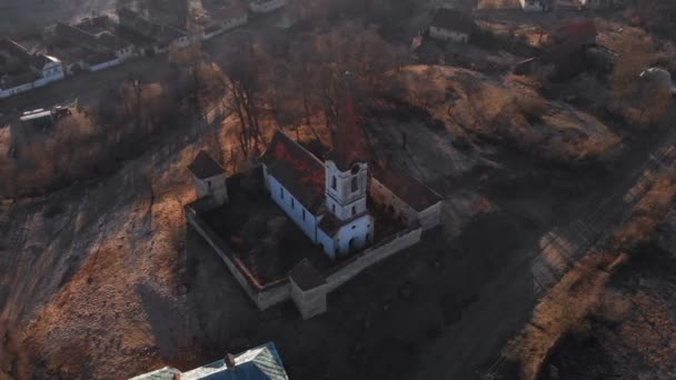 Aerial view of Gherdeal village in Romania. Fortified church in Transylvania