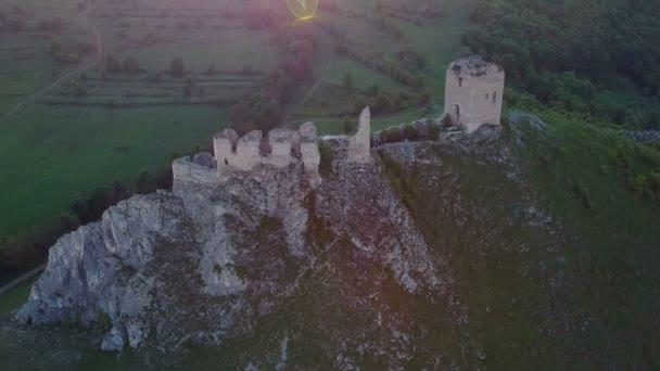 Aerial view of Coltesti medieval castle, Transylvania