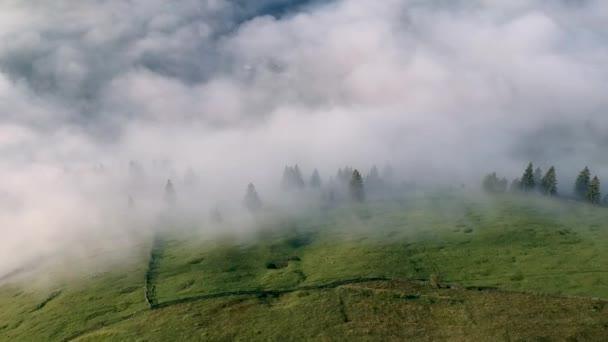 Foggy aerial view in Bucovina, Romania