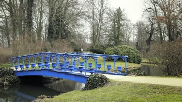 Stream s modré kovové secesní most. Zahradní projekt v rybníku. Oáza klidu v zahradě domu. Hrad okrasné hnětač. Potok s rostlinami, creek. Přírodní zahradní park v jarní