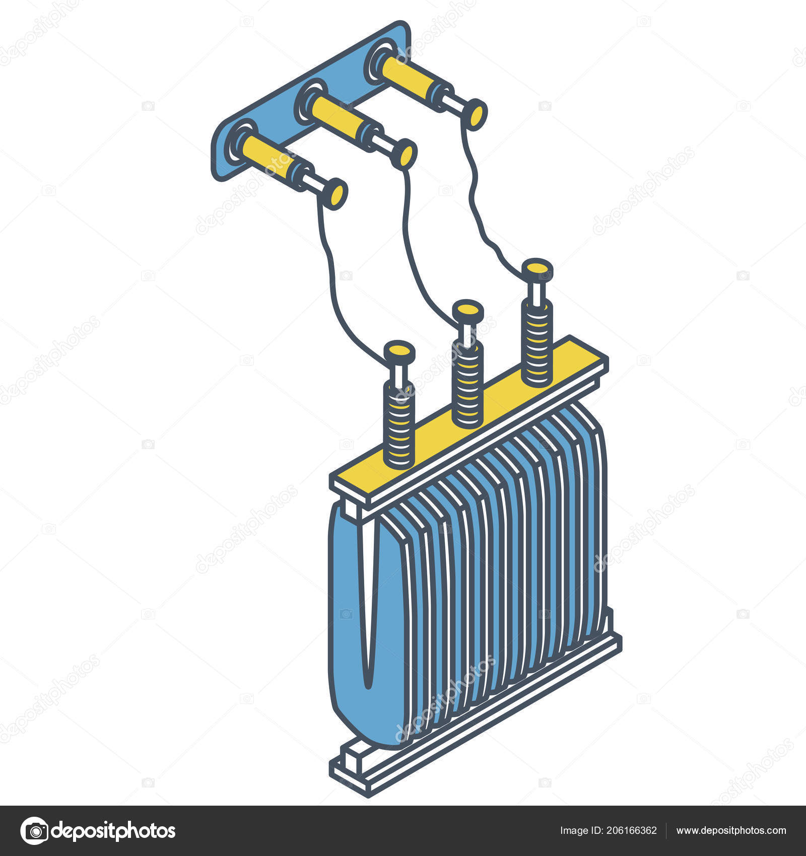 Outlined Detail Power Plant Station Element Electric Electrical Diagram Transformer Isometric Stock Vector