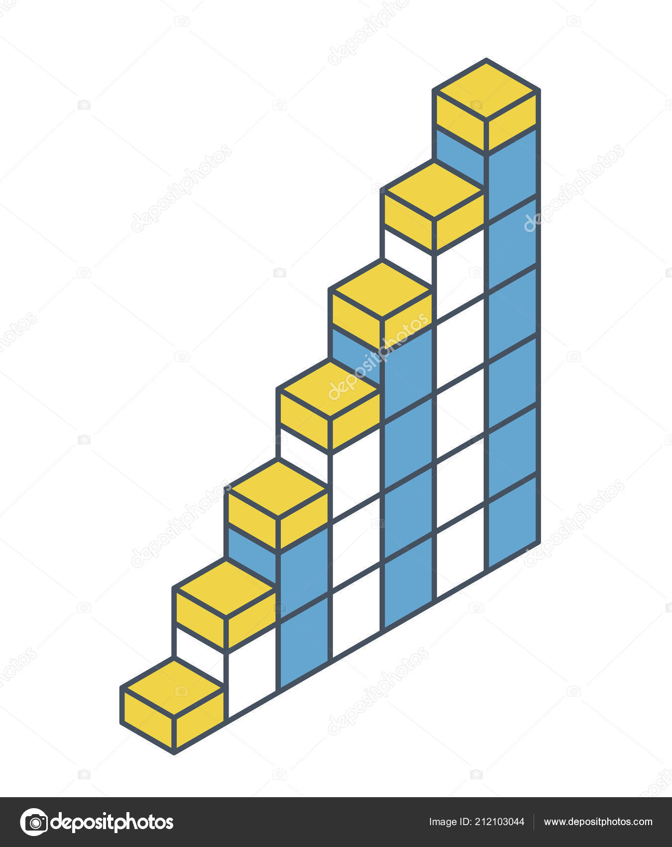 Vector Cube Shape Evoking Ascending Staircase Oulined Minimalistic