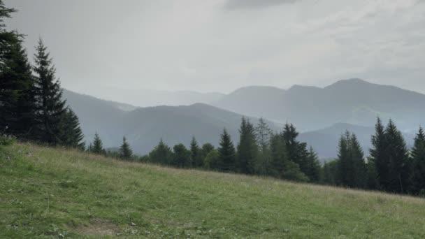 Monumentální kaňon Slovensko v deštivém počasí. Vrcholky hor v mlze, v dálce. Horském svahu s Les, hory, louky a pastviny. Výroba místo pro pěší turistiku, dovolenou. Den zastřelil