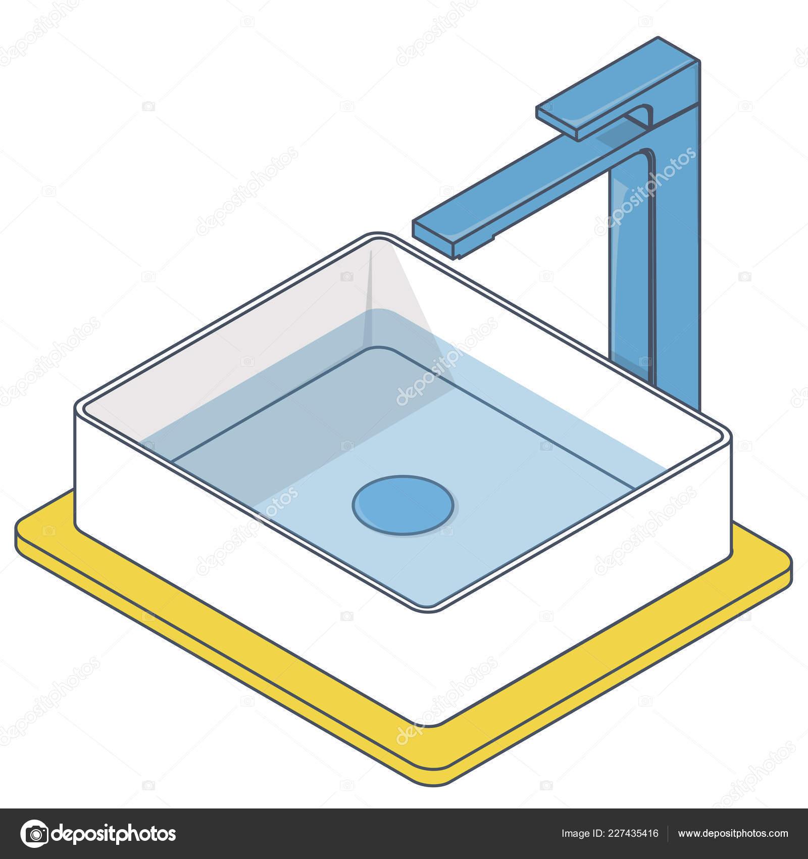 Waschbecken Badezimmer Beschrieben Isometrische Waschbecken Mit
