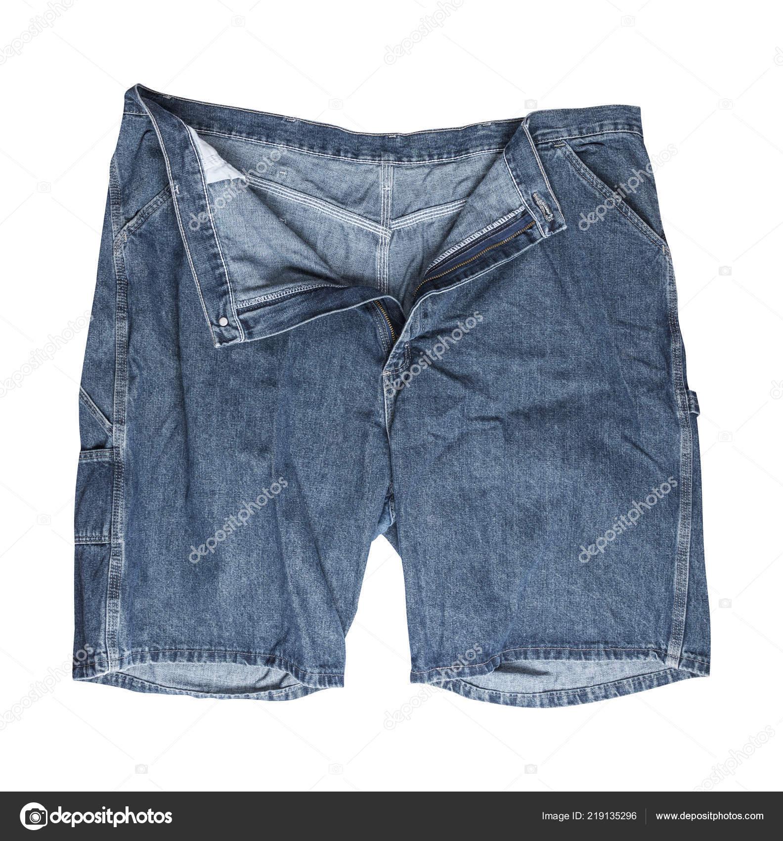 Bermuda Jeans Desgastado Com Botão Desabotoada Isolado Fundo Branco —  Fotografia de Stock 353868ffcb036