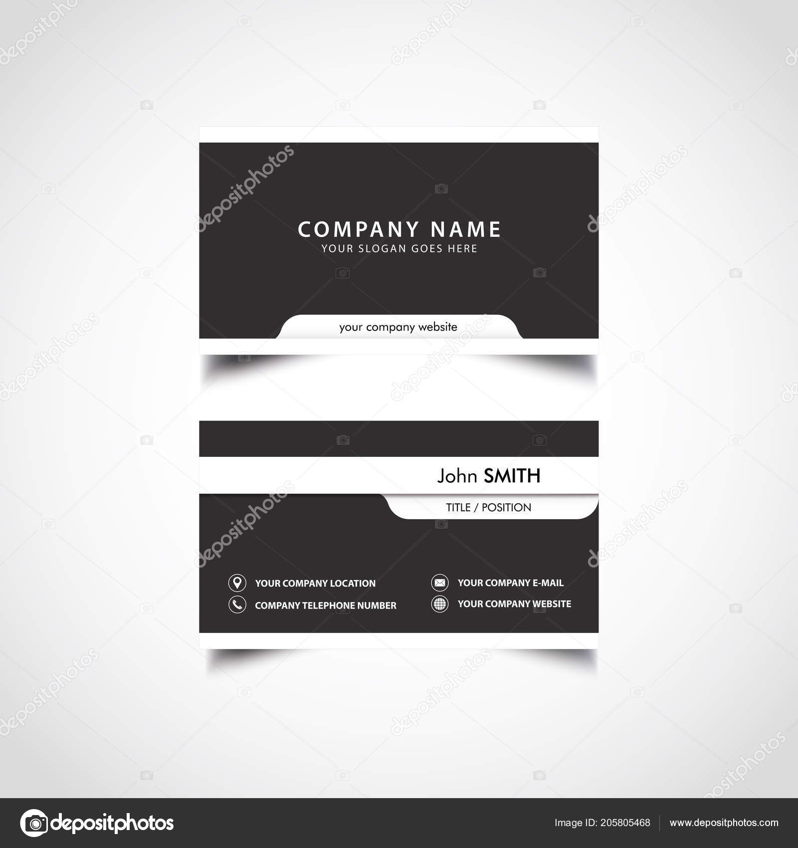 Simple Noir Blanc Business Card Template Vecteur Illustration