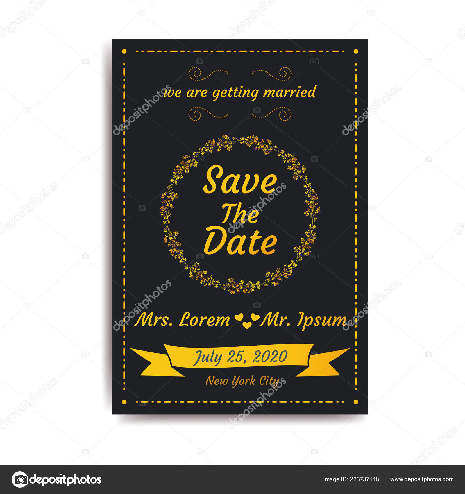 Wedding Date Invitation Card Black Background Vector