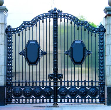 Beautiful decorative classic automatic metal gates. Wrought iron gates made of cast metal. Decor of the fence and house entrance.