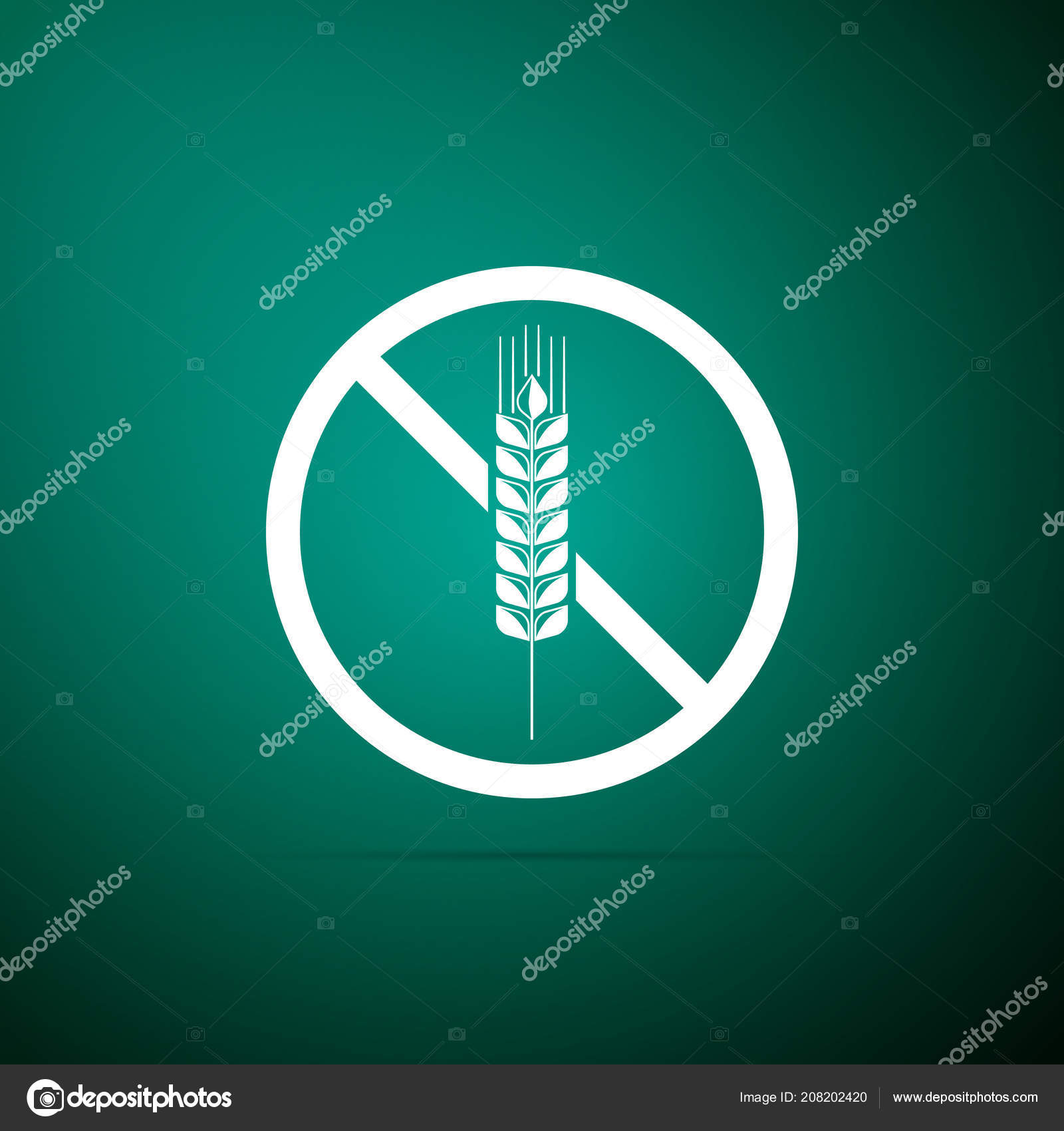 Gluten free grain icon isolated on green background  No wheat sign