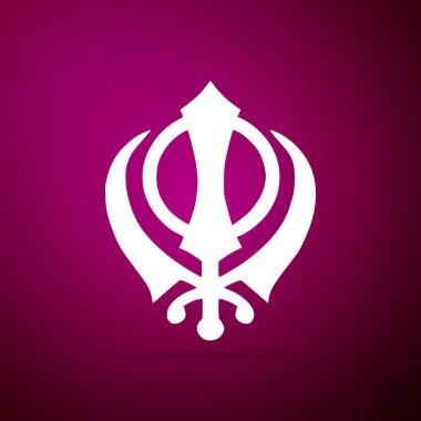 Sikhism religion Khanda symbol icon isolated on purple background. Khanda Sikh symbol. Flat design. Vector Illustration