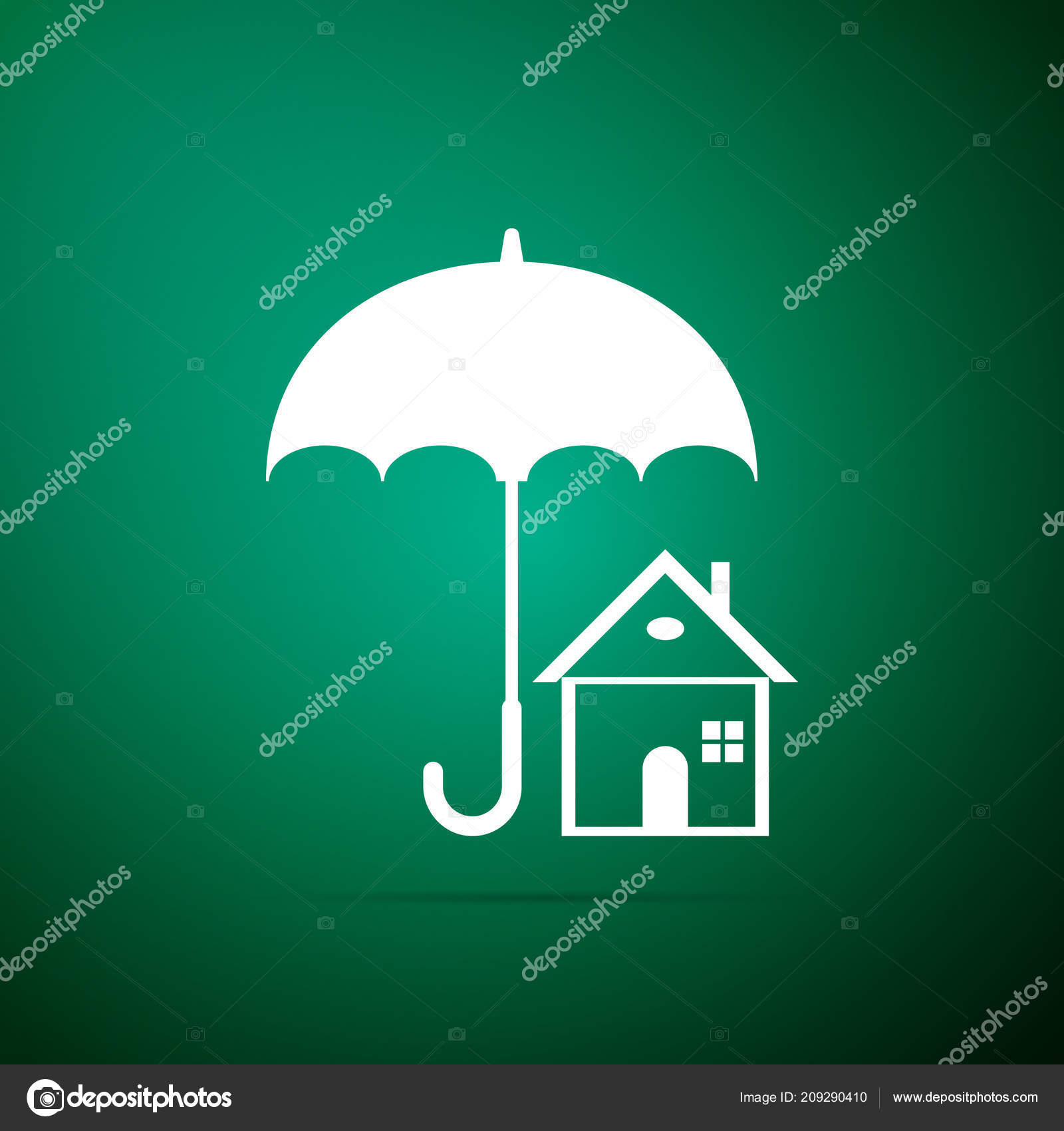 House With Umbrella Icon Isolated On Green Background Real Estate