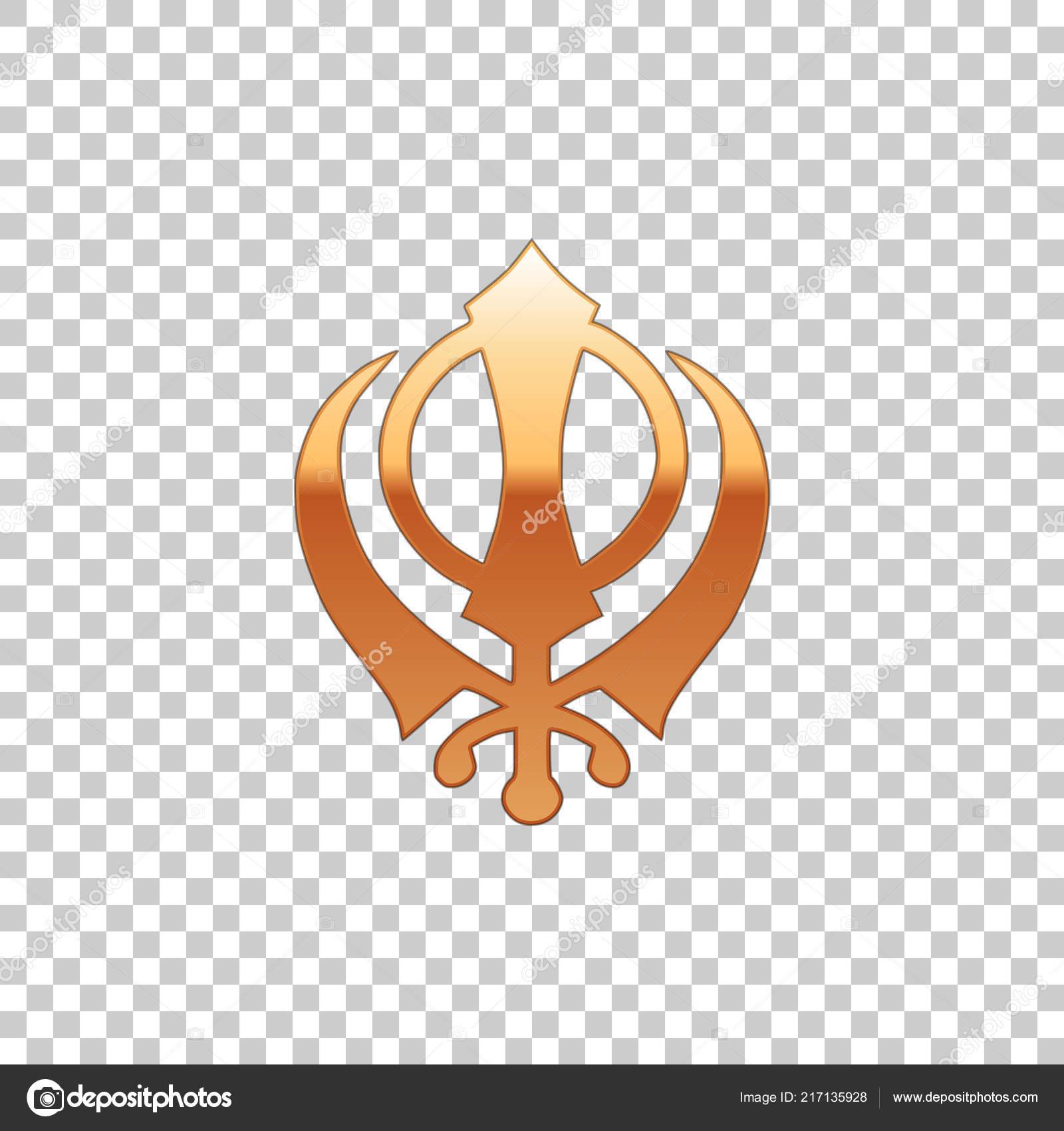 Golden Sikhism Religion Khanda Symbol Isolated Object On Transparent