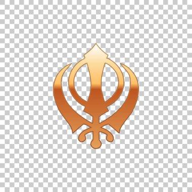 Golden Sikhism religion Khanda symbol isolated object on transparent background. Khanda Sikh symbol. Flat design. Vector Illustration