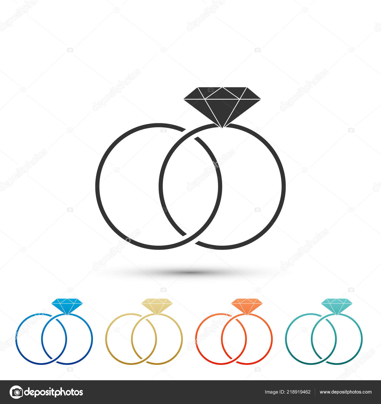 Wedding Rings Icon Isolated On White Background Bride And Groom Jewelery Sign Marriage Diamond Ring Set Elements In Colored Icons: Icon Wedding Ring Bride At Reisefeber.org