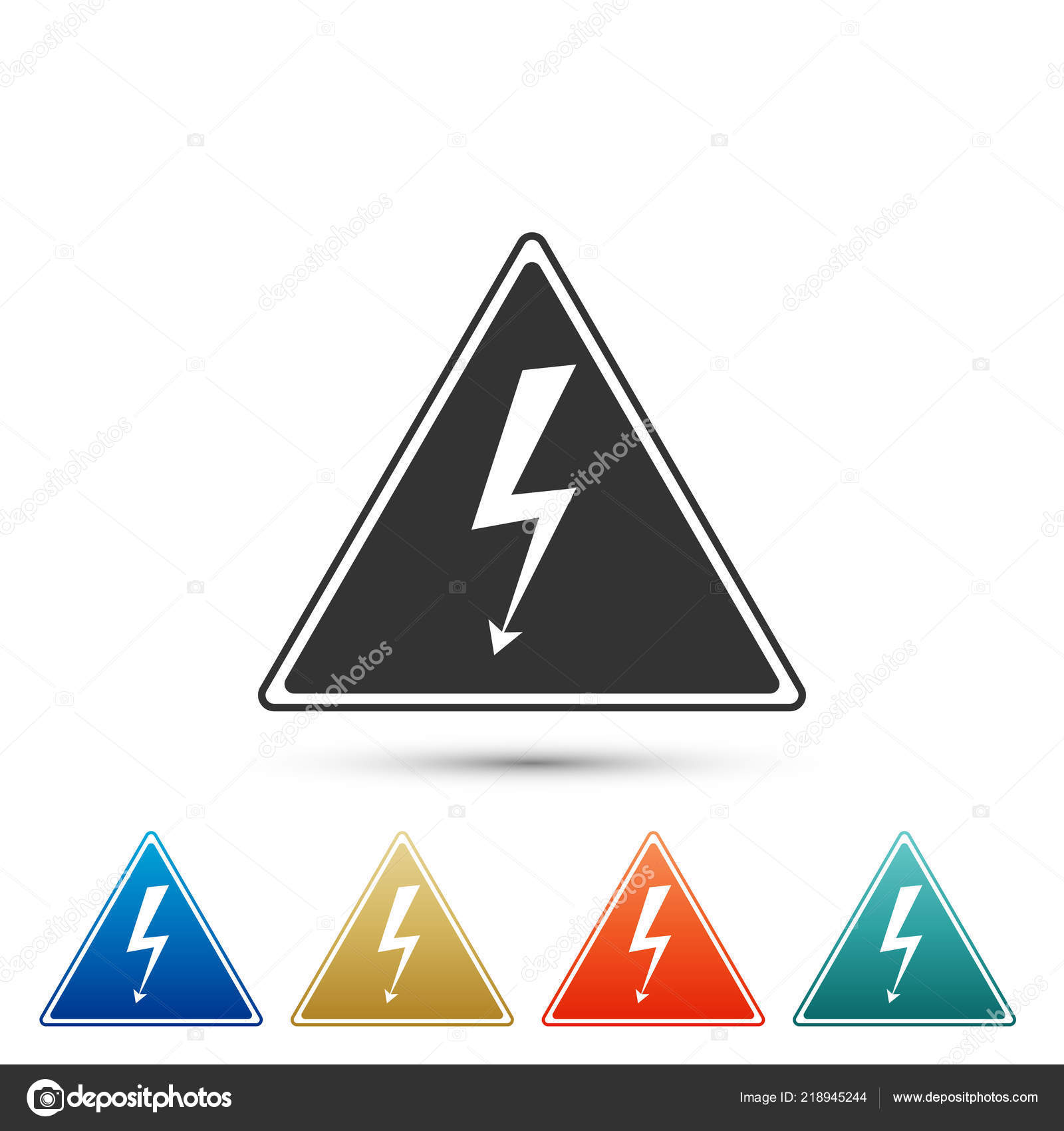 High Voltage Sign Icon Isolated On White Background Danger Symbol