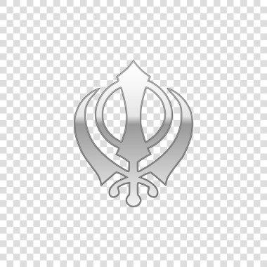 Silver Sikhism religion Khanda symbol isolated object on transparent background. Khanda Sikh symbol. Flat design. Vector Illustration