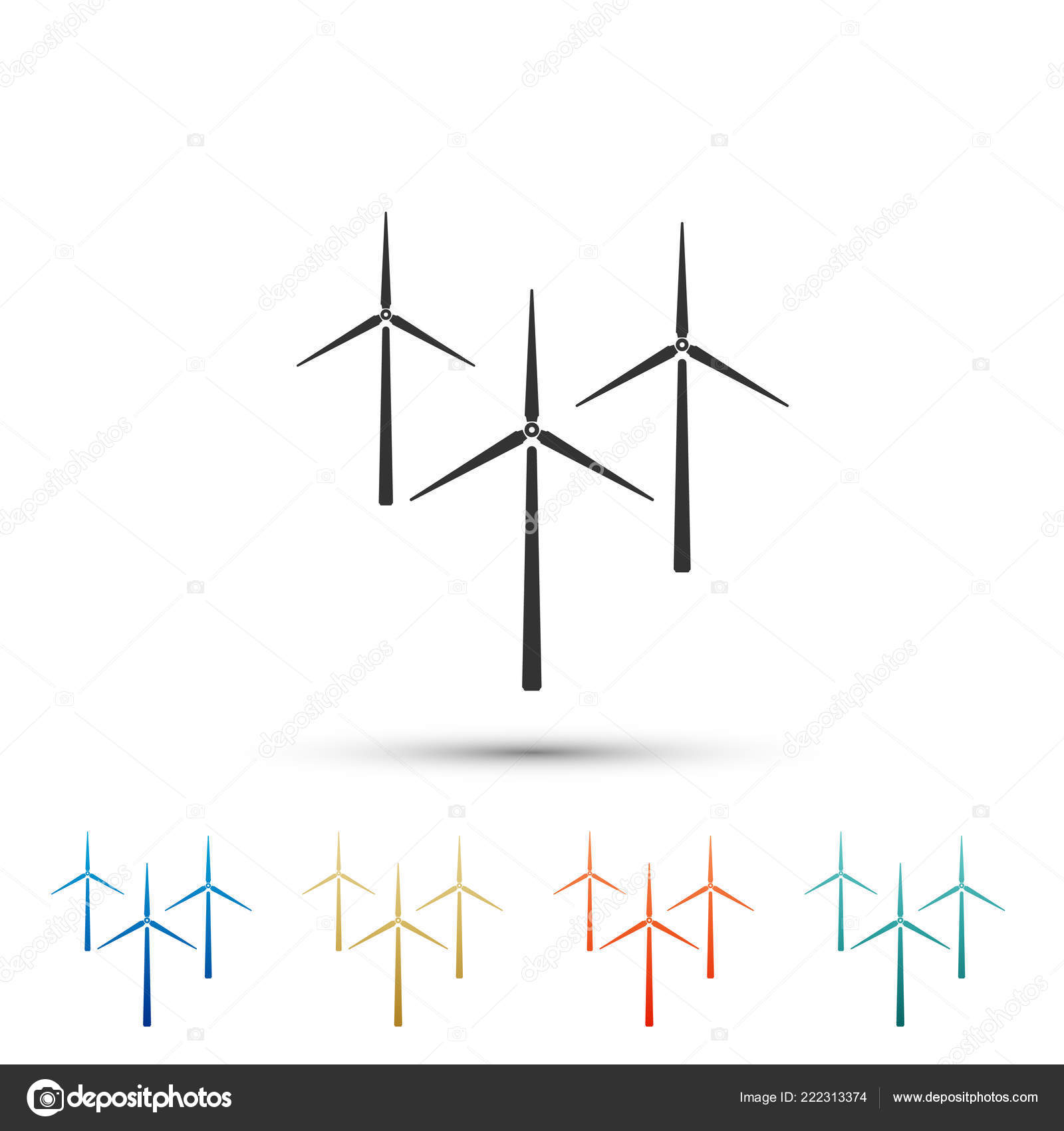 Wind Turbine Icon Isolated On White Background Generator Sign Mill Diagram Windmill Silhouette Windmills