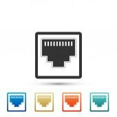 Netzwerkport - Kabelbuchsensymbol isoliert auf weißem Hintergrund. lan port Ikone. Ethernet einfaches Symbol. Local Area Connector Symbol. Elemente in farbigen Symbolen setzen. flache Bauweise. Vektorillustration