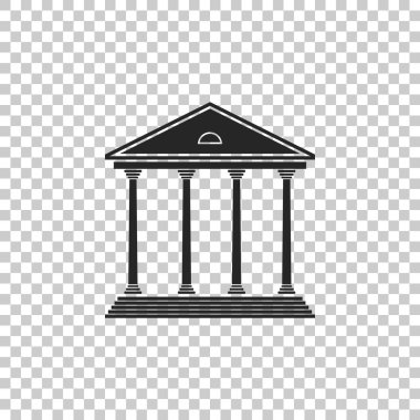 Courthouse building icon isolated on transparent background. Building bank or museum. Flat design. Vector Illustration