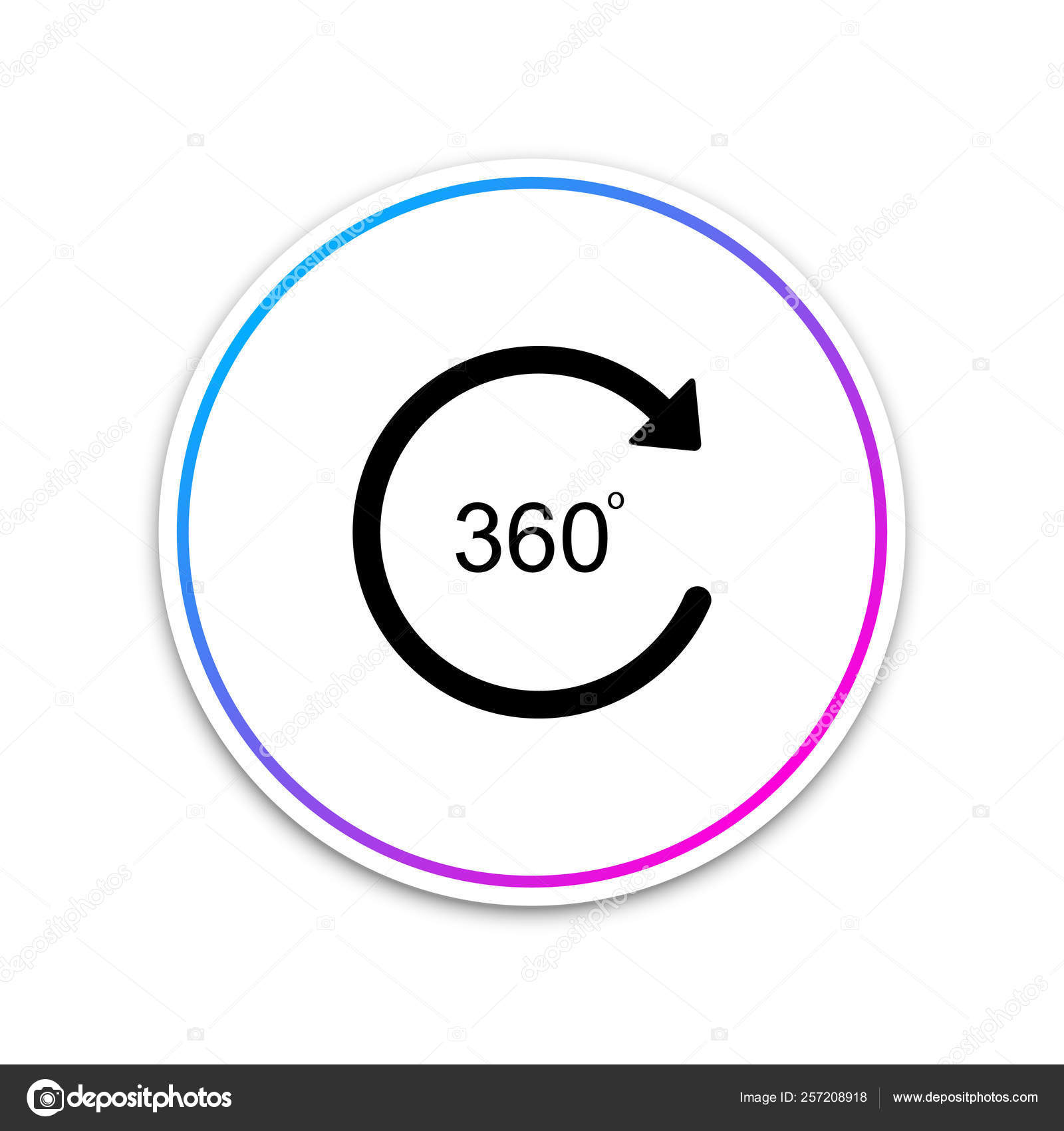 Angle 360 degrees icon isolated on white background