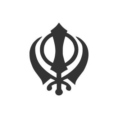 Sikhism religion Khanda symbol icon isolated. Khanda Sikh symbol. Flat design. Vector Illustration