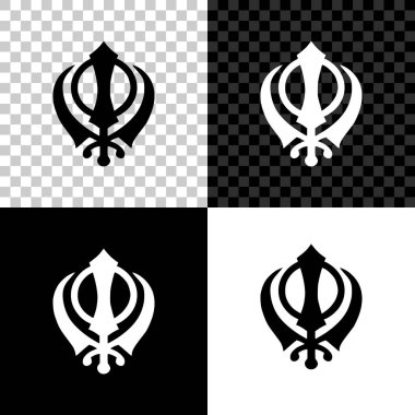 Sikhism religion Khanda symbol icon isolated on black, white and transparent background. Khanda Sikh symbol. Vector Illustration