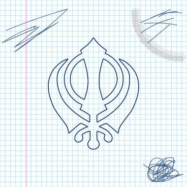 Sikhism religion Khanda symbol line sketch icon isolated on white background. Khanda Sikh symbol. Vector Illustration