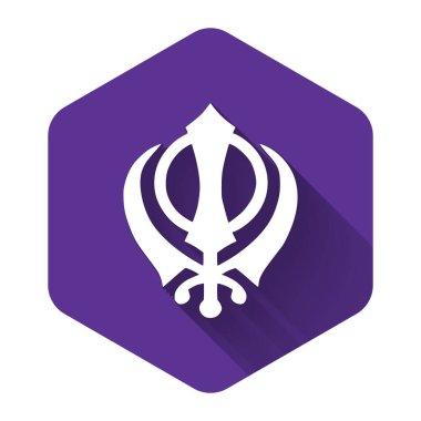 White Sikhism religion Khanda symbol icon isolated with long shadow. Khanda Sikh symbol. Purple hexagon button. Vector Illustration