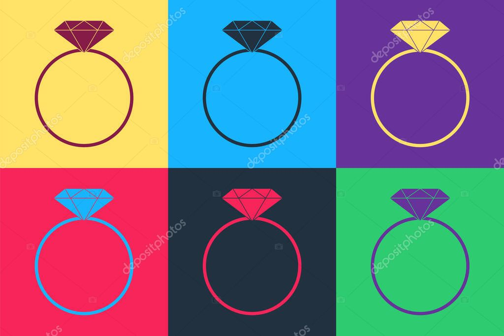 Pop art Diamond engagement ring icon isolated on color background.  Vector. icon