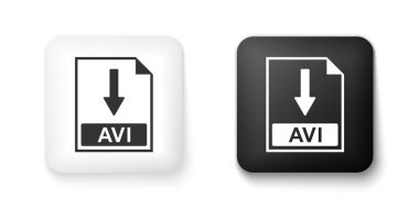 Black and white AVI file document icon. Download AVI button icon isolated on white background. Square button. Vector. icon