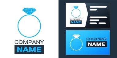 Logotype Diamond engagement ring icon isolated on white background. Logo design template element. Vector. icon