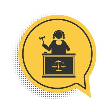 Black Judge with gavel on table icon isolated on white background. Yellow speech bubble symbol. Vector. icon