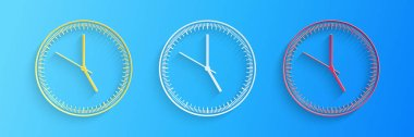 Paper cut Clock icon isolated on blue background. Time icon. Paper art style. Vector. icon