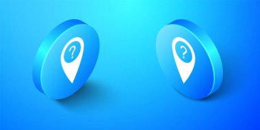 Isometric Map pointer with Question symbol icon isolated on blue background. Marker location sign. For location maps. Index location on map. Blue circle button. Vector. icon