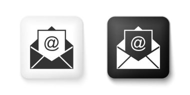 Black and white Mail and e-mail icon isolated on white background. Envelope symbol e-mail. Email message sign. Square button. Vector. icon
